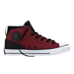 Converse Red & Black Syde Street Logo Lace Up Canvas Mid Top Sneakers Size 11