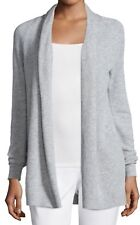$345 NWT THEORY ASHTRY J FEATHER CASHMERE LIGHT GRAY OPEN FRONT CARDIGAN sz M