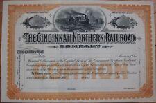 1910 Stock Certificate: 'Cincinnati Northern Railroad Company' - Ohio OH, Orange