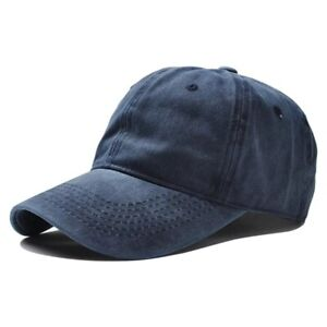 Baseball Cap Vintage Style Denim Adjustable Faded  Snapback Hat Navy Blue New