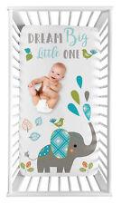 Turquoise Mod Elephant Boy Girl Photo Op Nursery Fitted Crib Sheet by Sweet Jojo