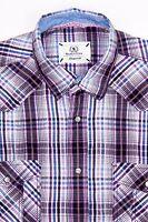 BUGATCHI UOMO Shaped Fit Men's Button Front Shirt Purple Plaid Sz Medium