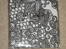 Tahari Black White Lace Damask Shower Curtain NEW Scroll