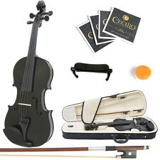 Mendini Size 1/2 MV-Black Solidwood Violin +Shoulder Rest+Extra Strings+Case