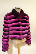 HOT PINK FUSCIA EMPRESS CHINCHILLA JACKET BOLERO LONG Sleeves COAT SAKS NEW