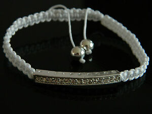 White Cotton Adjustable Bangle Bracelet for Women with rhinestones charm BB15