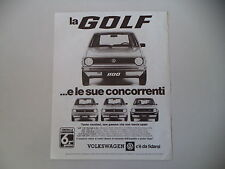 advertising Pubblicità 1979 VOLKSWAGEN GOLF 1100/1300/DIESEL/GTI