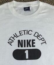 True Vintage 80s Original Nike Athletic Dept. Blue Tag Bright White T-Shirt L