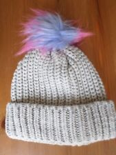 Girls F&F Pale Grey Knitted Bobble Hat  Age: 7 to 10 Years
