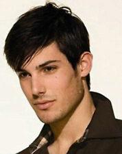 US Fashion Natural Men Human Hair Short Full Wig Straight Layered Dark Brown