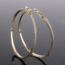 Vintage Women Large Round Hoop Dangle Earring Crystal Rhinestone Jewelry Gift