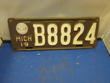 MICHIGAN LICENSE PLATE # B8824 EXPIRED OVER 3 YEARS 1919 WITH STATE SEAL