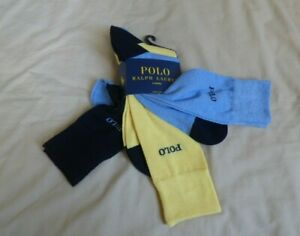 POLO RALPH LAUREN 3 PAIRS CREW SOCKS SHOE SIZE 6-12.5 NEW YELLOW, BLUE, NAVY