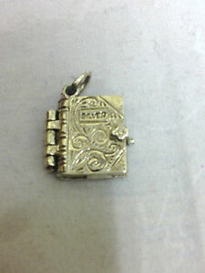 Sterling Silver Charm Vintage Holy Bible Charm