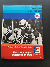1973 WHA Quebec Nordiques VS Chicago Cougars Hockey Program French Vintage