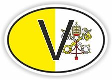 OVAL FLAG V HOLY SEE VATICAN COUNTRY CODE STICKER CAR MOTOCYCLE AUTO TRUCK