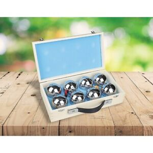 Deluxe Boule 8 Alloy Ball Set Boules Bocce with Wooden Case