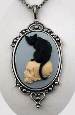 Halloween Witch FELINE BLACK CAT ON SKULL SKELETON Cameo Silver PENDANT NECKLACE
