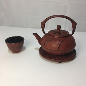 Small Red Cast Iron Tea Kettle W/ Top, Strainer,  1 Cup & Trivet Made In Japan