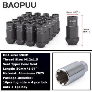 20pcs M12x1.5 Spline Lug Nuts Lock Nuts Aluminum Gray 50mm Open End with Key