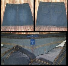 Womens Sz 20 Denim Stretch Skirt Dark Blue Avenue Jeans 4 Pocket Button Zip