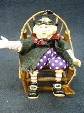 Fitz & Floyd Floppy Folks Wanda Witch in Wooden Chair Halloween Figurine (B360)