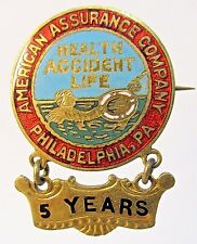old AMERICAN ASSURANCE COMPANY 5 Yr PHILADELPHIA Health Accident inlaid pin +