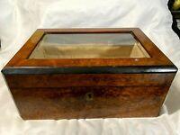 Vintage  Wooden Trinket Box w/Beveled Glass Top