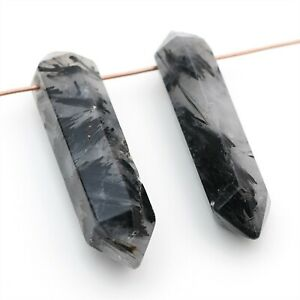 2 long tourmalated quartz points beads top drilled double terminated 42mm 44mm