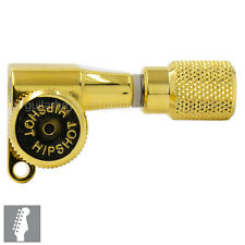 Hipshot 6-In-Line STAGGERED Closed-Gear Locking Mini Tuners Knurled Keys - GOLD