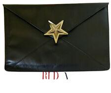 Red Valentino Star Black Leather Envelope Clutch Bag