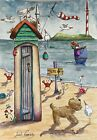 8x6 Contemporary Original Watercolour Painting Beach Hut~Dog~Mouse~Snail~Boat