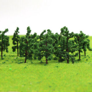 100pcs HO Scale Model Tree Roadside Green 1:87 Tree 3.8cm Model Train Layout