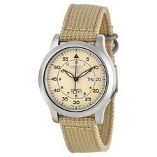 Seiko 5 Men's Automatic Beige Stainless Steel Watch, Canvas Strap, 10 ATM SNK803