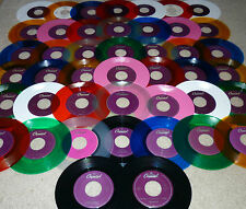 *<* ULTIMATE BEATLES lot of 44 COLORED VINYL UNPLAYED MINT 45s w/JUKEBOX STRIPS!