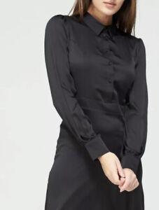V By Very Satin Shirt Dress Long Sleeve Black UK Size 16