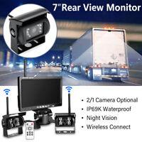 "7"" LCD Monitor +Wireless Reverse Car Rear View CCD Backup Night Vision Camera"