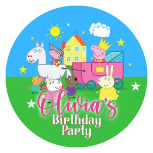 24 Personalised Stickers For Party/Sweet Cone Bags Pig Pepp