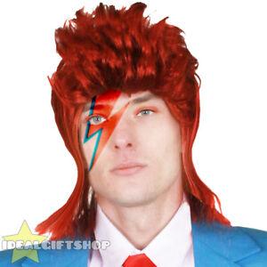 1970'S GLAM ROCK WIG MUSIC ICON LEGEND RED SPIKED ROCKER HAIR MENS FANCY DRESS