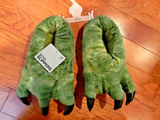 NEW WITH TAGS FAUX FUR BOYS GREEN CLAW FEET SLIPPERS SIZE LARGE/XL 4/5