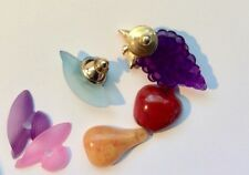 Hat and Fruit Brooches Set Vintage 1970s Avon Colourful Acrylic Pins