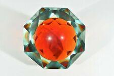 MURANO 1,4 Kg. Facettenglas Schale ° Sommersotechnik ° 60er Jahre Muranoglas