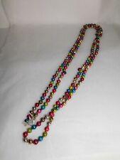 "Vintage 104"" Multi Colored Glass Bead Ball Christmas Tree Garland"