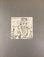 Georg Schott *1906 Portrait Lesender Herr Bleistift Feder 1967