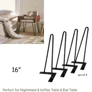 "16"" DIY Furniture Hairpin Coffee Table Legs Nightstand Metal Benches Feet 2-Rod"