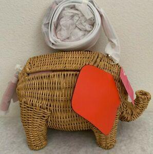 NWT Kate Spade Tiny Wicker Large Elephant Crossbody Bag TAMARILLO $398 PXRUB236