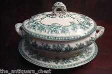 Antique soup tureen Ironstone Staffordshire Ivy Leaves w/ underplate[*]