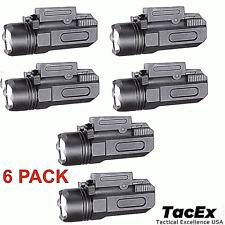 6 Pack Tactical Pistol Gun Flashlight Torch Light for 20mm Rail 600 LM