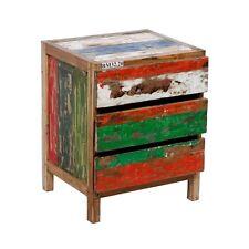 Teak Kommode recyceltes Holz aus alten Fischerbooten shabby bunt Nachttisch 60cm