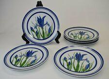 "Curzon Blue Iris 6 Salad Plates 8 1/4"""